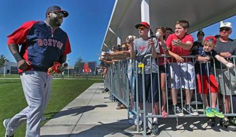 David Ortiz was in a happy place Wednesday, heading to the practice field past some young and old autograph seekers.